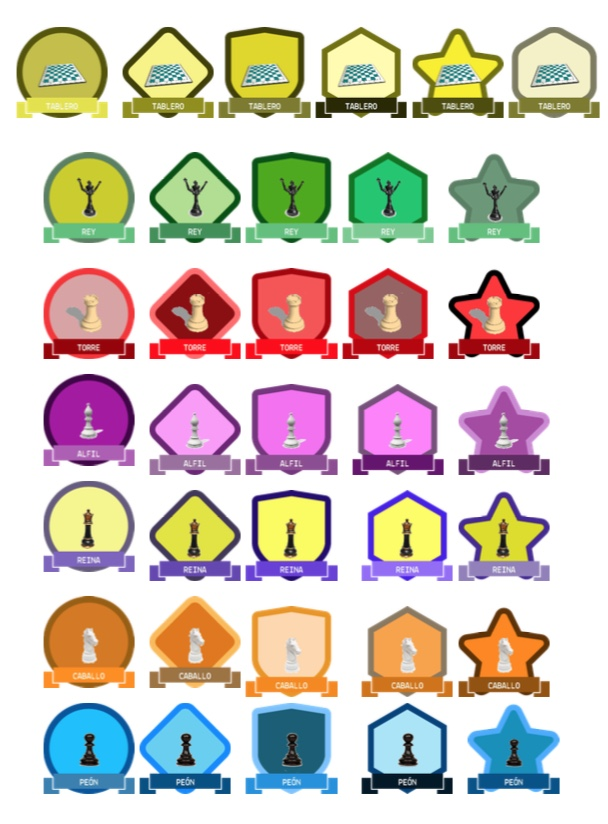 gamificación de ajedrez, emblemas